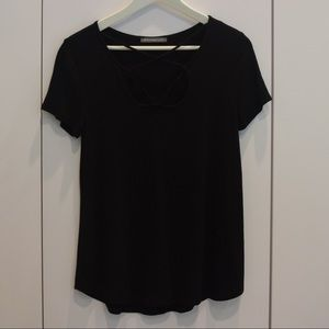 Tops - Criss-Cross Strappy Black Shirt